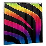 ADONINELP Duschvorhang Regenbogen Zebra, Wasserdichter Polyester Stoff Dekorativer Badvorhang Mit Haken 72x72 Zoll
