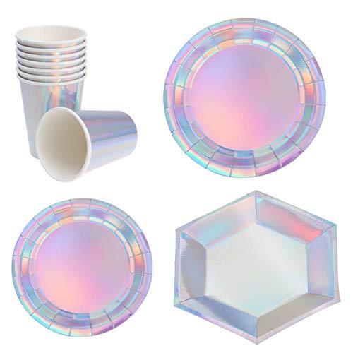 Amosfun 32 Pcs Ensemble de Vaisselle de Fête Holographique Vaisselle Jetable Paillettes Hexagone Forme Ronde Tasses de Plaque Jetables pour Anniversaire Construction Décoration de Fête