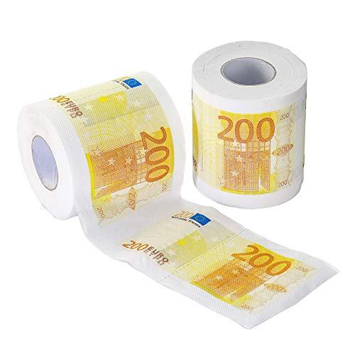 Monsterzeug Geld Toilettenpapier - 200 Euro Schein, 2er Set, Klopapierrollen mit Aufdruck Geldmotiv, 3-lagig