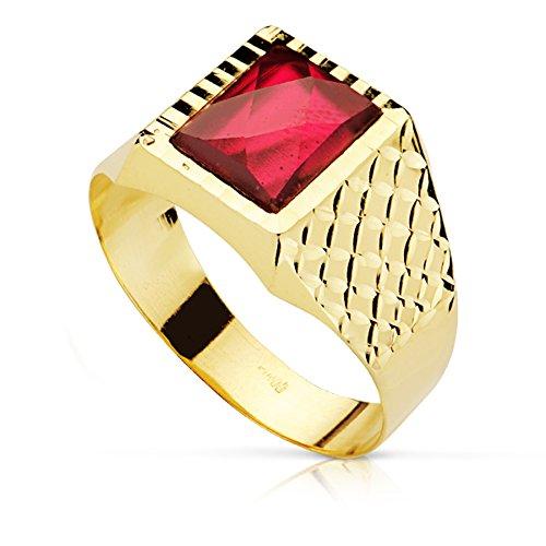Sigillo da uomo Bento. Oro giallo 18 carati, con raffinata pietra spinello color rubino, personalizzabile