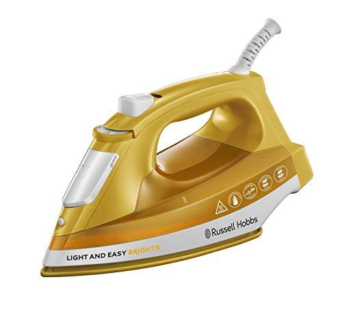 Russell Hobbs Light & Easy Brights - Plancha de Ropa de Vapor (2400W, Suela de Cerámica, Amarillo Mango) -ref. 24800-56