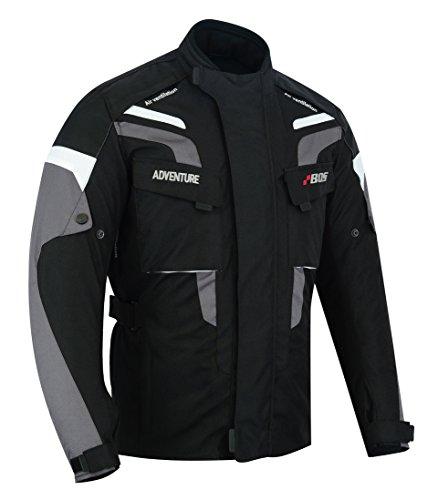 BOSmoto Motorradjacke Herren Textil Wasserdicht Winddicht Mit Protektoren Multifunktional Schwarz (S)