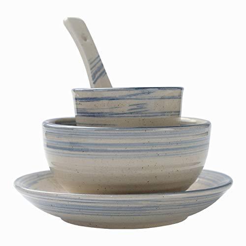 Vajillas combinadas Retro estilo chino estilo hotel restaurante vajilla conjunto mesa para una sola persona placa placa tazón de porcelana set de cuatro piezas Juego de cuenco y plato