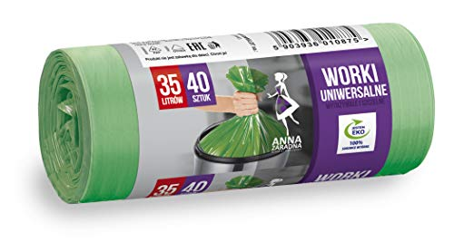 Anna ZARADNA ST-AZ-010875 - Bolsas de basura universales (35 L, 40 unidades), color verde