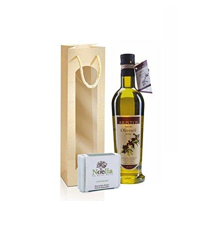 Geschenk-Set | Kaltgepresstes Olivenöl | Olivenölseife | Geschenktüte mit Sichtfenster | 500ml Olivenöl + 100 g Olivenölseife | ARISTOS Ostergeschenk Geschenkidee