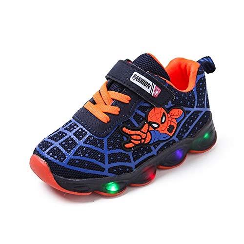 LED Kids Schuhe Leuchtende Turnschuhe Trainer Jungen Mädchen Babys Neue Spiderman Schuhe Kleinkind Baby Kinder Atmungsaktiv Blitzgeschenk 1-6t oder große Kleinkind Kinder ( Color : Blue , Size : 21 )