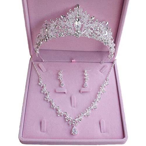 Yiyu Brautschmuck-Sets, Hochzeit Braut Prom Glänzende Kristall Strass Krone Tiara Stirnband x (Color : Silver)