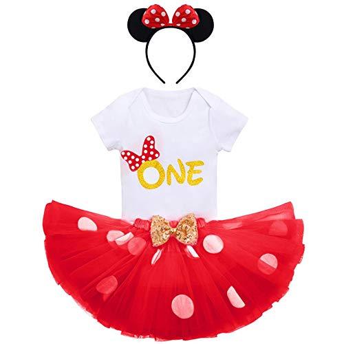 Conjunto de ropa de bebé niña 1º / segundo cumpleaños princesa + falda tutú de peces + diadema de Minnie 3 piezas Set de cumpleaños fiesta fiesta ceremonia fotografía Rouge-one 1 Year