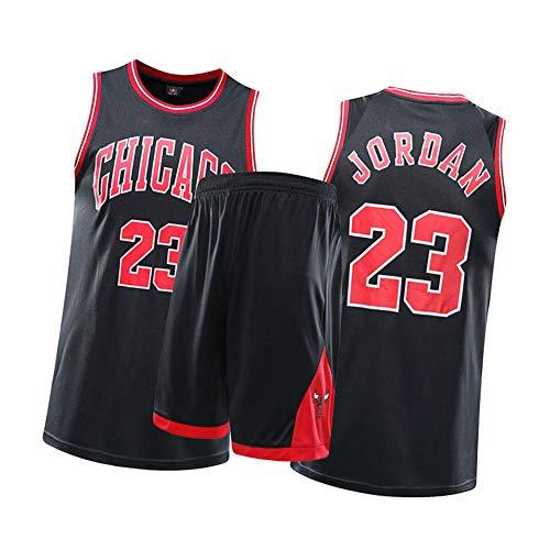CXMY Michael Jordan Männer Frauen Kinder Basketball Trikots Anzüge, Chicago Bulls 23# Sportbekleidung Sets, Unisex Retro Basketball Swingman Sportswear Atmungsaktiver Komfort-Black-XS