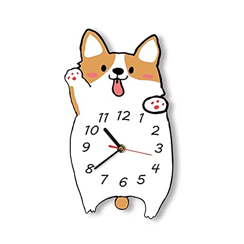 Reloj de Pared Welsh Corgi Reloj de Pared de Dibujos Animados Silencioso sin tictac Reloj de Pared sin Marco Amante de los Perros Decoración del hogar Corgi Perro Retrato Regalo conmemorativo