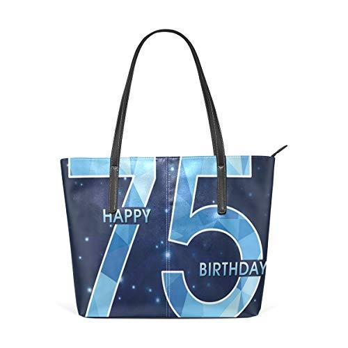 NR Multicolour Fashion Damen Handtaschen Schulterbeutel Umhängetaschen Damentaschen,Marineblau-Geburtstags-Thema spielt Druck die Hauptrolle