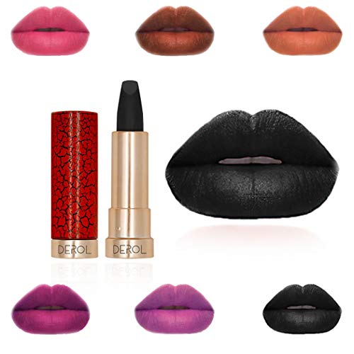 Edanta Gothic Lipstick Hydrating Lipsticks Long Lasting Lip Gloss Beauty Christmas Makeup for Women and Girls (Black 10#)