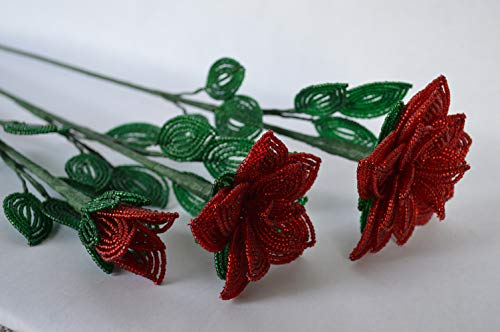 French beaded flower long stem roses red rose set of 3 large medium bud Silk Flower Arrangements