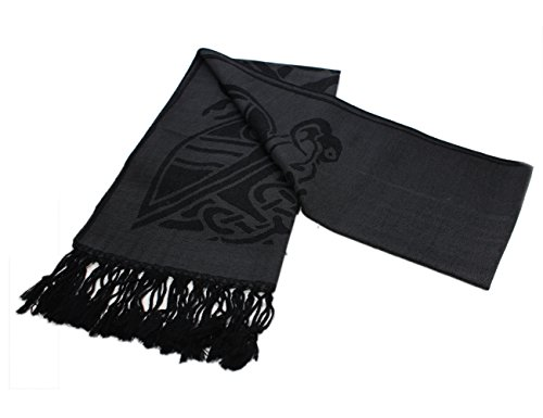 "Irish Women's Scarf Book of Kells Black 100% Wool 16"" x 68"" Made in Ireland"