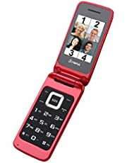OLYMPIA Luna rode mobiele telefoon voor senioren, leeftijdsvriendelijke klapmobiele telefoon met knoppen