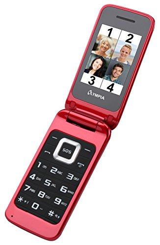 OLYMPIA Luna rot Mobiltelefon für Senioren, Altersgerechtes Klapphandy mit Tasten