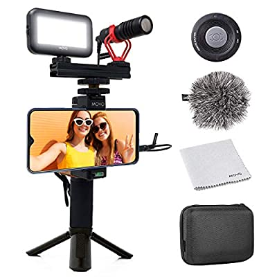 Movo Smartphone Video Kit V1 Vlogging Kit with Tripod, Grip Rig, Movo VXR10 Shotgun Microphone, LED Light and Wireless Remote - YouTube Equipment Compatible with iPhone, Android Samsung Galaxy, Note from PhonevideoKit1+TR-1