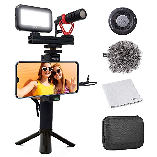 Movo Smartphone Video Kit V1 Vlogging Kit with Tripod, Grip Rig, Movo VXR10 Shotgun Microphone, LED Light and Wireless Remote - YouTube Equipment Compatible with iPhone, Android Samsung Galaxy, Note