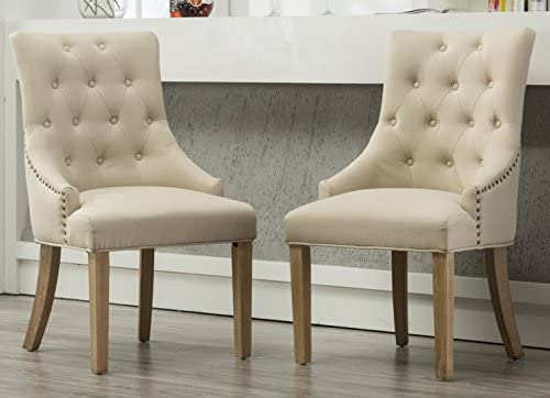 Best Roundhill Furniture Button Tufted Solid Wood Wingback Hostess Chairs with Nail Heads, Set of 2, Tan