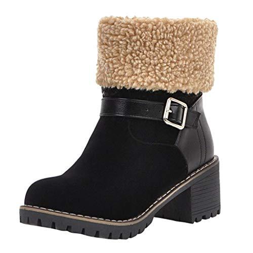 Botines de Gamuza para Mujer TOPKEAL Botas de Nieve de Tacón Grueso Impermeables Antideslizantes de Invierno Negro