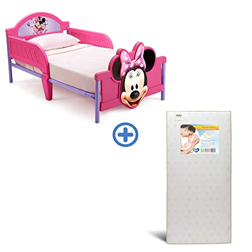 Best Prices! Delta Children 3D-Footboard Toddler Bed, Disney Minnie Mouse Twinkle Stars Fiber Core C...