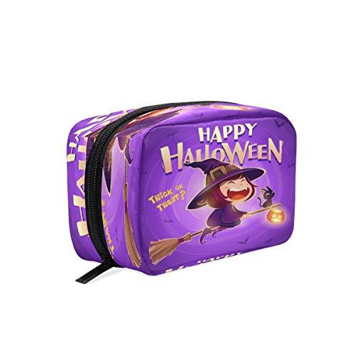 BKEOY Kosmetiktasche Happy Halloween Hexe Katze Kürbis Kosmetiktasche Pack Reißverschluss Tasche Make-up Toilettenbürste Organizer