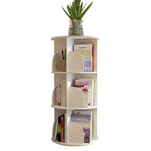 MTYLX Estantería, Estantería de 3 Niveles Estantería Giratoria de 360 ° para Ver Y Alenar Medios Carrusel Libro Exhibición Y Alenamiento de Juguetes Muebles de Madera Estantes para Libros