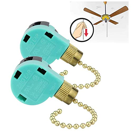 2 Pack 3 Speed Ceiling Fan Switch Zing Ear ZE-268S6, Pull Chain Cord Switch,Use for Ceiling Fans, Appliances, Wall Lamps, Cabinet Light, Replacement Speed Control (2 Pack, blue)