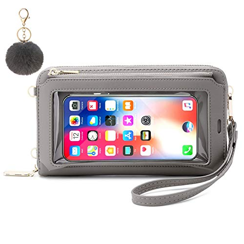 Sac Téléphone Portable Femme, Sac Main Écran Tactile avec Poches Transparentes en Similicuir. Sac Bandoulière Mini Pochette pour téléphone Portable, pour iPhone 12 Pro/11/Xs Max/XR/Xs (Gris A)