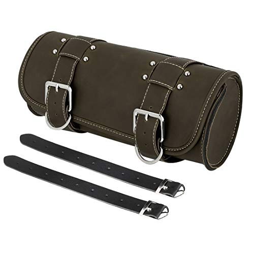 F FIERCE CYCLE Motorcycle Saddlebag Dark Green Synthetic Leather Luggage Tool Bags with Metal Buckle
