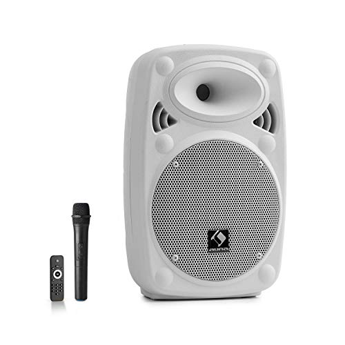 "auna Streetstar 8 mobile PA-Anlage (8\"" (20 cm) Subwoofer, XMR Bass Technology, UHF-Mikro, 200 Watt max, Bluetooth, USB/SD-Port, UKW Radio, AUX, 2-Band Equalizer) weiß"