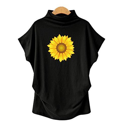 DREAMING-Camiseta De Manga Corta De Murciélago De Cuello Alto De Gran Tamaño para Mujer + Estampado Negro 4XL