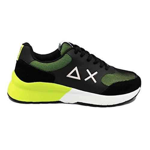 SUN 68 Scarpe da Uomo BZ19110 Sneakers Running Sportive Ginnastica in Pelle Nere Nero Giallo Fluo Calzature Jaki Mesh Shoes Nuove Comode Fondo Gomma