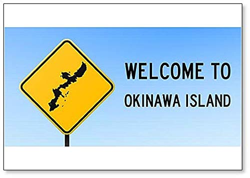 Welcome to Okinawa Island with Map on Road Sign Illustration Fridge Magnet