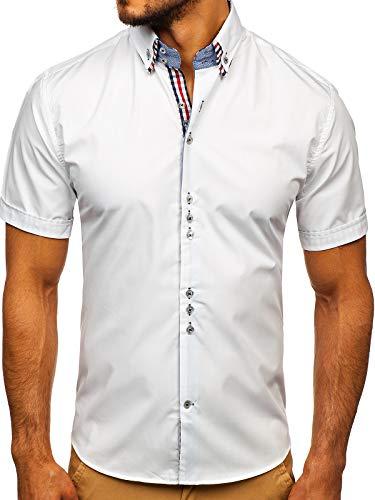 BOLF Herren Hemd Kurzarm Sommerhemd Figurbetont Bügelleicht Baumwollmischung Unifarben Basic Slim Fit 3507 Weiß L [2B2]
