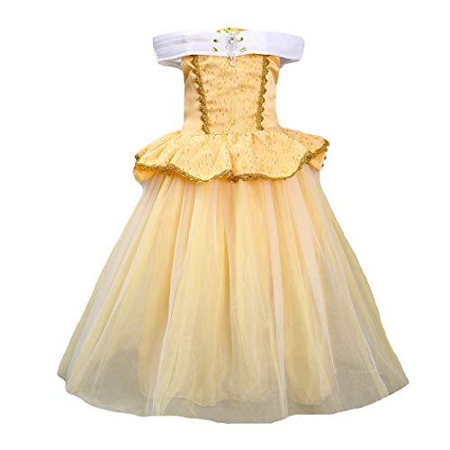 Fanessy Traje de la Bella y la Bestia Vestido de algodn con Forro Amarillo Fiesta de Halloween Cumpleaos Fiesta de Baile Pelcula Cosplay Disfraz de Varita mgica Collar nios