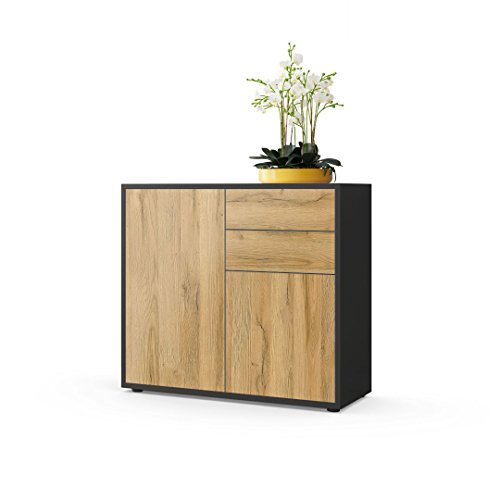 Vladon Kommode Sideboard Ben, Korpus in Schwarz matt/Fronten in Eiche Nature