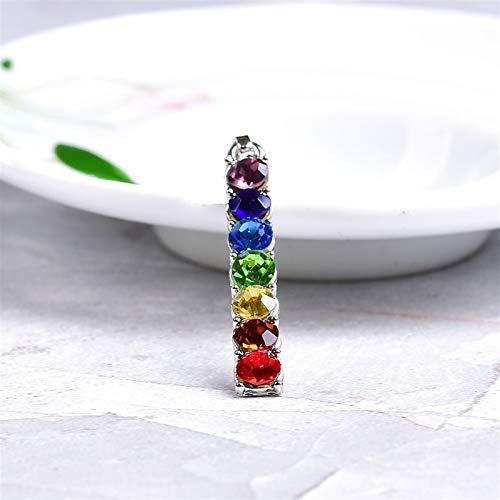 QWEQWE Moda Simple circón Colgante Colorido Adornos Collar para Hombres Mujeres joyería Siete Chakras circón Damas Colgante Regalo de Bricolaje (Color : Colorful Zircon, Size : 1PC)
