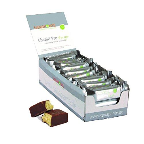 """Sanaponte Eiweiß Pro\""""to go\"""" Riegel 49{5b076335a9c58ddbc202535d44e6d9857ec4982000a7c8ee4a789505e00f7894} Protein (24x 35g Riegel) Low Carb Protein Riegel Vanille Geschmack - Protein Bar - nur 129 kcal, 0,8 g Zucker pro Riegel"""