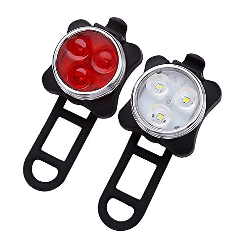 Luz Trasera Bicicleta determinada Faro/Red + luz Blanca, Grano de la lámpara de Carga USB a Prueba de Agua Esencial de Cuatro velocidades for la conducción Nocturna Mi MianYangShiFuChengQuShiHuDengJ