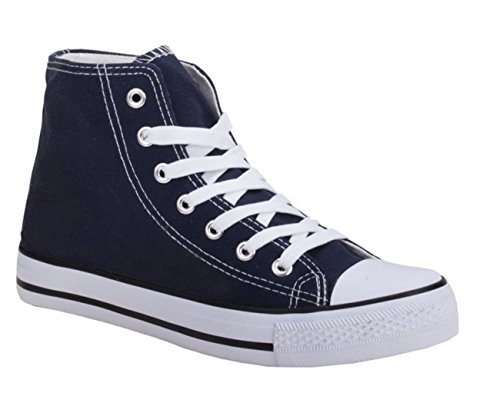 JUMEX Neu Damen Sneakers Freizeit Turnschuhe High Top Schuhe (44, Blau)