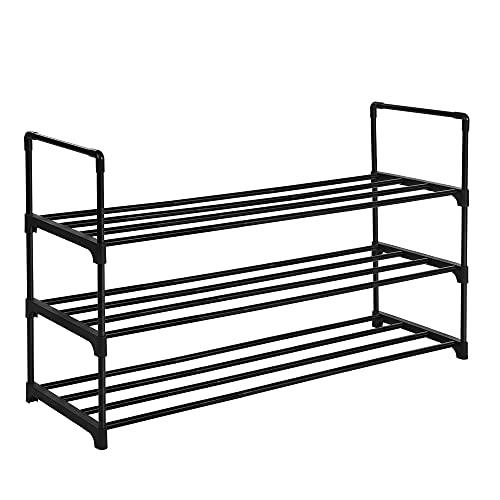 SONGMICS 3-Shelf Shoe Rack, Metal Shoe Storage Organiser, Easy to Assemble, 12 to 15 Pairs Shoes, Stackable Shoe Shelf for Closet, Entryway, Black LSA303B02