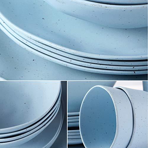 LEKOCH - Serie Wave Set di stoviglie in Irregolare di bambù, 16 Pezzi, per 4 Persone - Colore: Blu