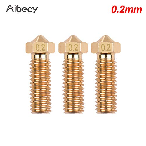 Baugger Extruder Nozzle,3pcs 3D Printer Extruder Brass Volcano Nozzle M6 Thread Printer Head 0.2mm Output for Sidewinder X1 TEVO Little Monster 1.75mm Filament