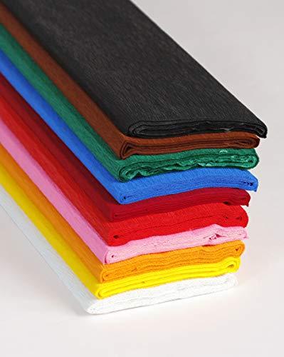Clairefontaine 914399C Packung mit 10 Rollen feuerfestes Krepppapier (200 x 50 cm, ideal für das Erstellen von Dekorationen und Kostümen) 1 Pack farbig sortiert