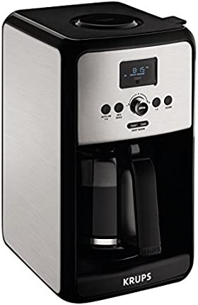 KRUPS EC314 - Cafetera digital programable, 12 tazas, color plateado