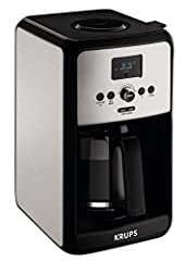 12-cup programmable coffee maker with easy-to-read LCD screen and intuitive rotating knob Timer for wake-up coffee; dual program settings allow for separate weekday and weekend auto-on start times Adjustable brew strength; bold function for fuller bo...