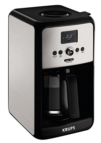 KRUPS Programmable Digital Coffee Maker, Coffee Machine with Stainless Steel Body, 12 Cup Coffee Maker, Silver - 7211002500