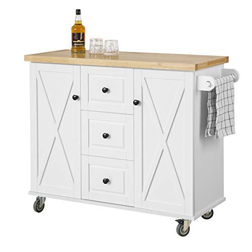 SoBuy FKW96-WN Kücheninsel mit Arbeitsplatte Küchenwagen mit 2 Türen Küchenschrank mit 3 Schubladen Sideboard weiß BHT ca.: 116x93x46cm