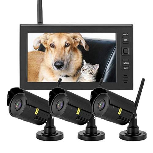 Tarjeta SD Grabación 4CH Monitor de seguridad inalámbrico LCD Sistema(Australian regulations (110-240V))
